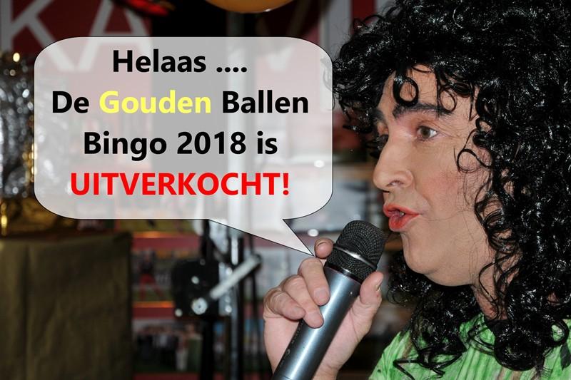 Gouden Ballen Bingo 2018 binnen 10 dagen uitverkocht