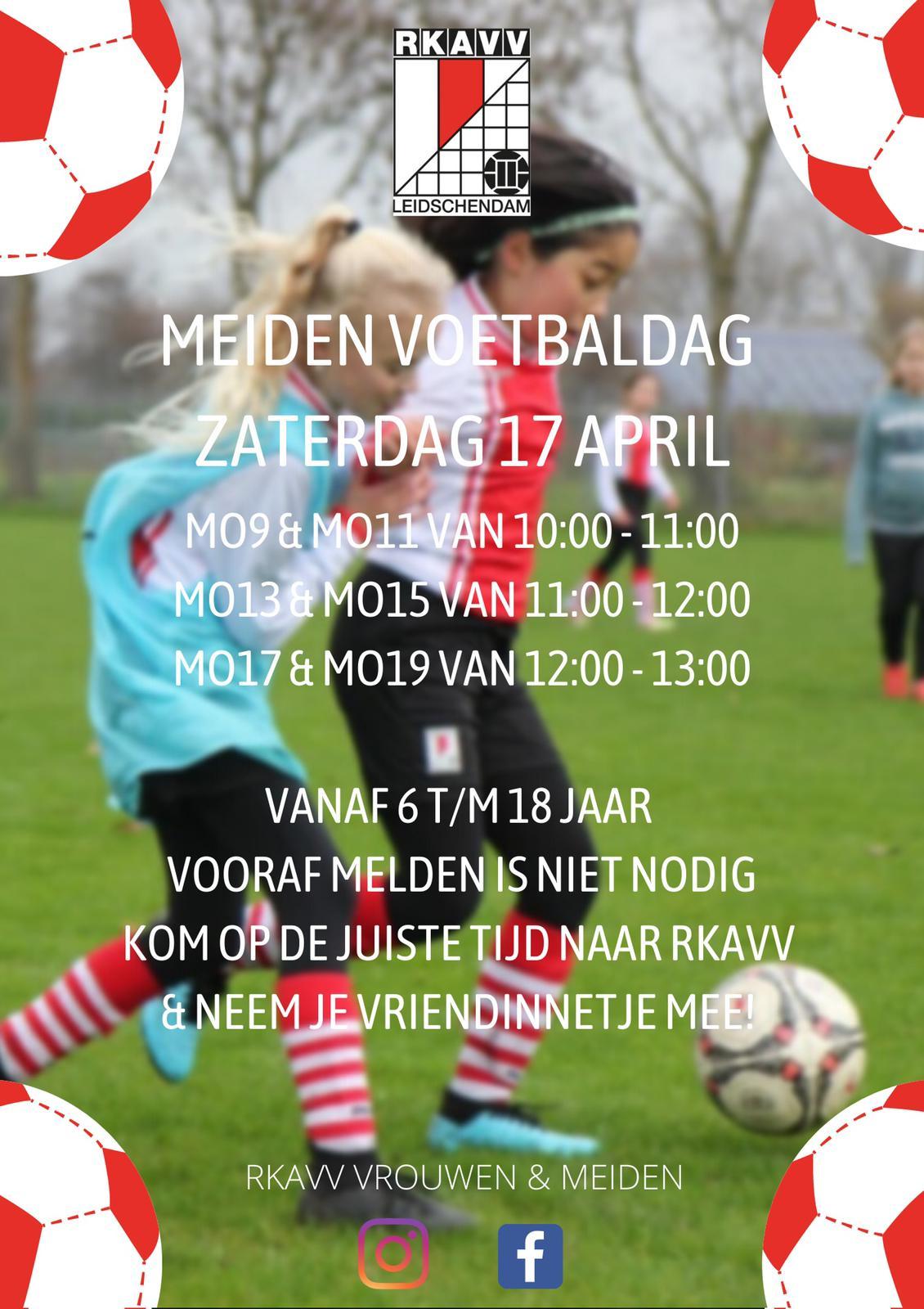 Zaterdag 17 april open voetbaldag voor meiden