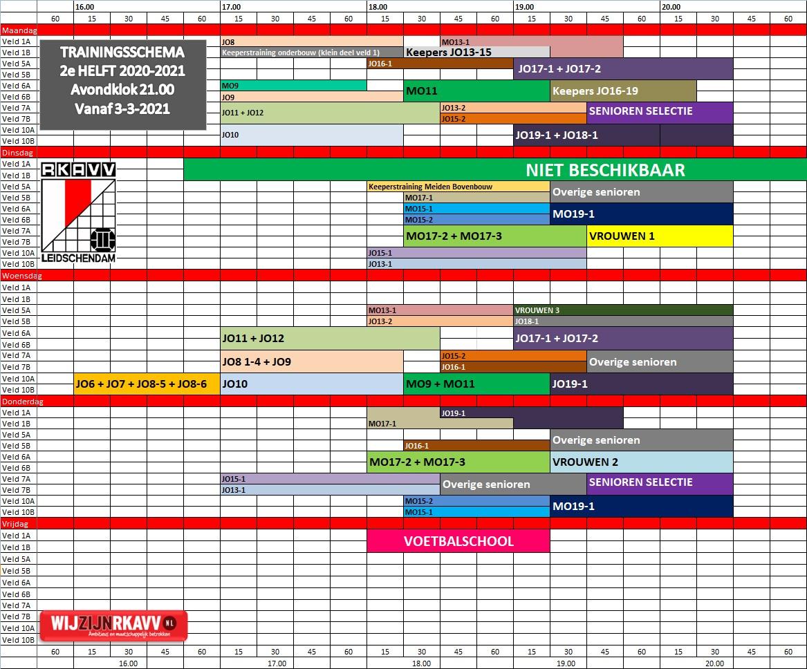 Trainingsschema vanaf 3 maart