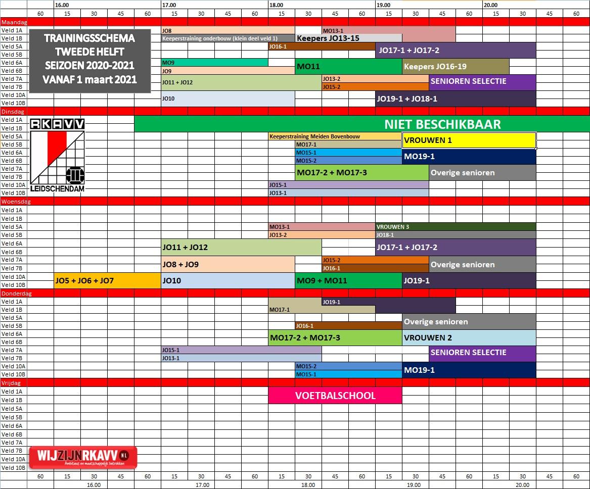 Trainingsschema vanaf 1 maart