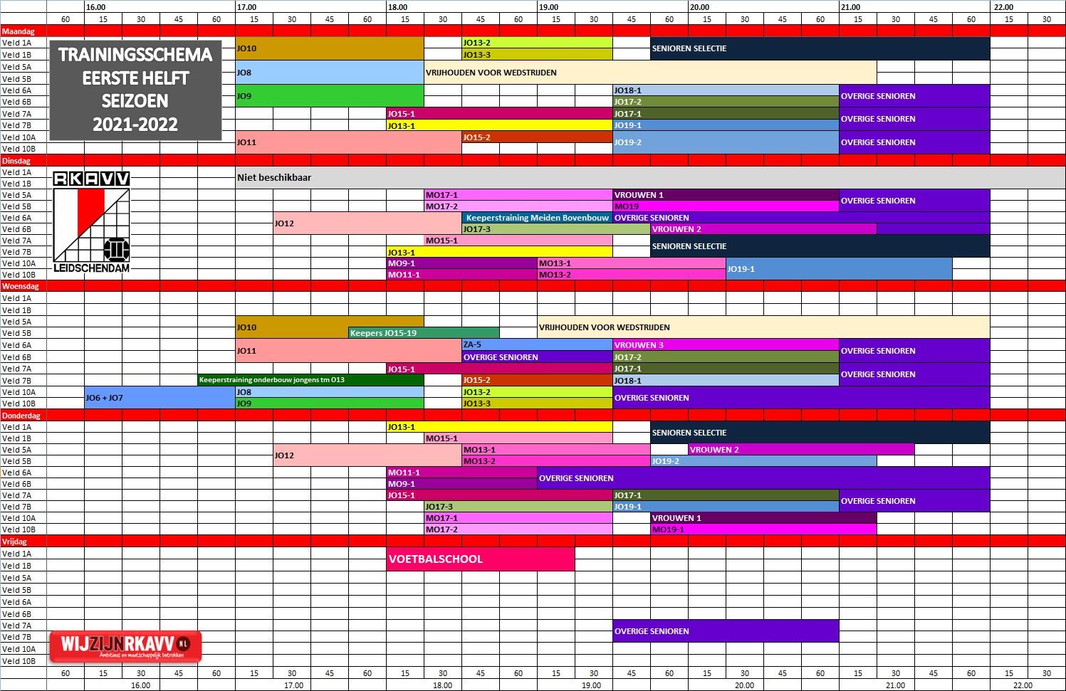 Trainingsschema 1e helft seizoen 21/22