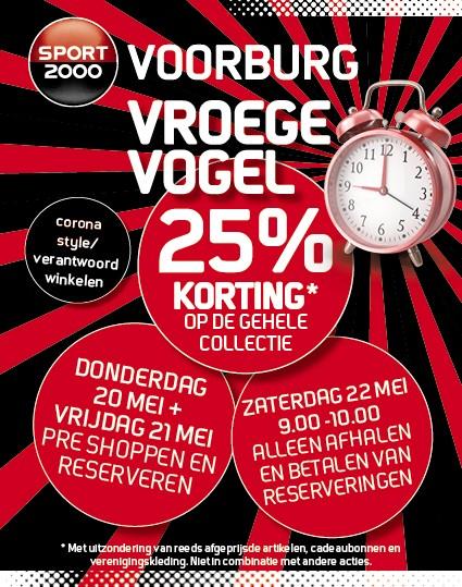 SPORT2000 Vroege Vogel actie deze week, 25% korting op gehele collectie* !