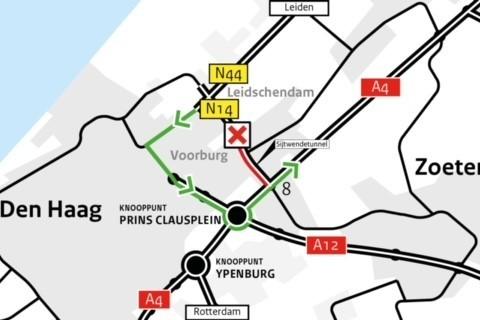 Weekendafsluiting N14 richting A4